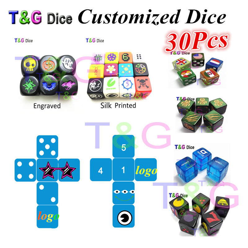 T&G 16mm Customized D6 Dice for Personalized Logo!Custom Top Quality Rpg Dice/Die,Printed,Engraved Logo  Board Game!