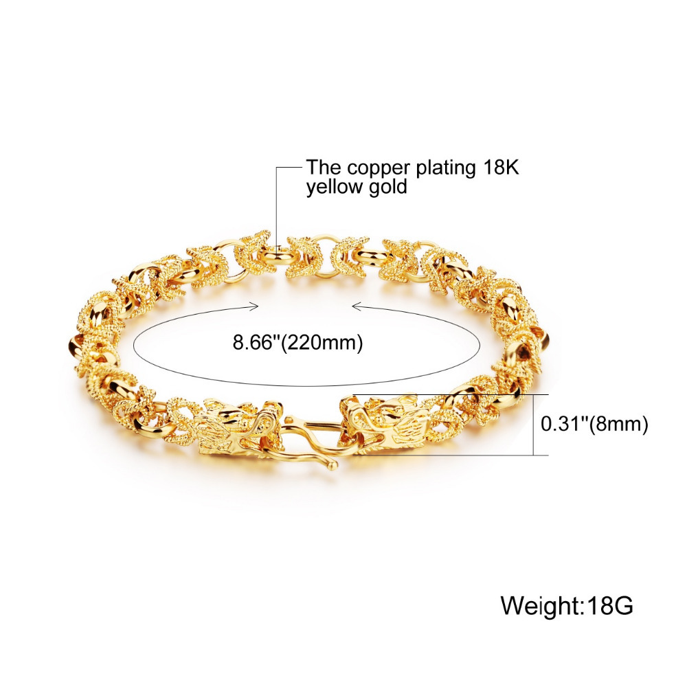 Opk Luxury Gold Color Mans Bracelets Punk Style Dragon Heads Mens Jewelry Link Chain Friendship Wristband Ks445 In Charm From