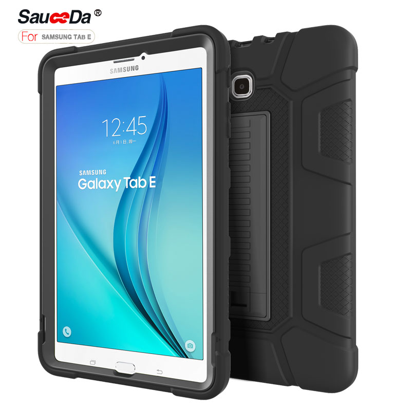 Anti-Knock Silicon Cover For Samsung Galaxy Tab E 9.6 case Armor Kickstand Shockproof tablet stand for Galaxy Tab E SM-T560 T561 планшет samsung galaxy tab e sm t561 sm t561nzkaser