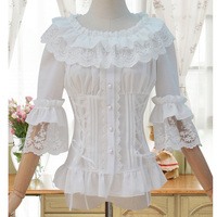 White Cotton Peter Pan Collar High Waist Short Puff Sleeve Lolita Gothic Blouse Sexy Shirt Women