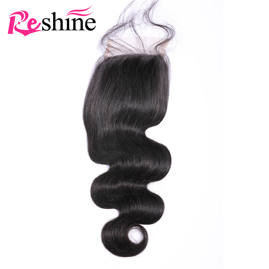 Reshine Hair Body Wave Closure Human Hair Hand Tied Swiss Lace Closure 4 4 Part With