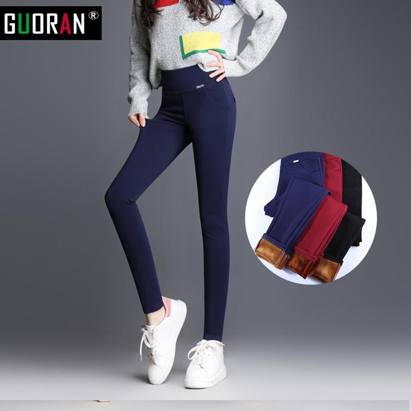 Plus la Taille S-5XL Femmes Crayon Pantalon taille haute Skinny Noir Épais Velours Chaud D'hiver Leggings Jeggings Legins Feminina Pantalon