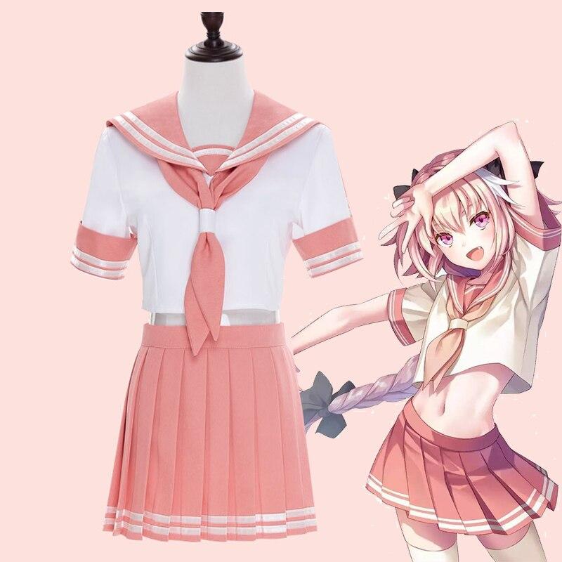Destin Grand ordre Apocrypha cavalier Astolfo Cosplay Costumes rose JK école uniforme marin costume hauts jupe tenue Anime Cosplay