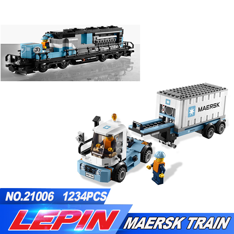 Lepin 21006 New 1234Pcs Genuine Technic Ultimate Series The Maersk Train Set Building Blocks Bricks Educational Toys 10219 lepin 22002 1518pcs the maersk cargo container ship set educational building blocks bricks model toys compatible legoed 10241