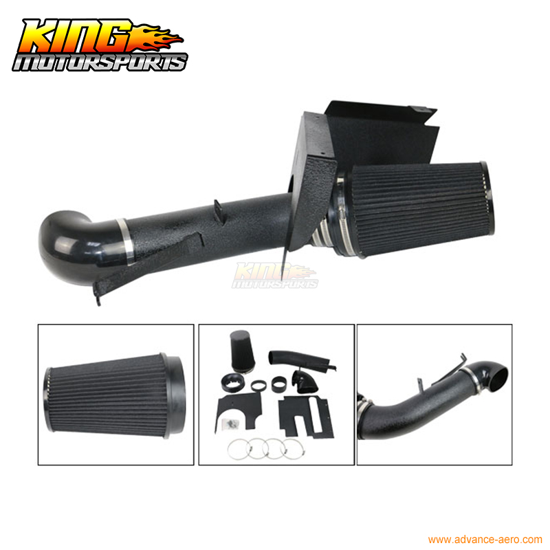 ФОТО For GMC Chevy V8 4.8L 5.3L 6.0L 4 Inch Heat Shield Air Intake System Sanded Black USA Domestic Free Shipping