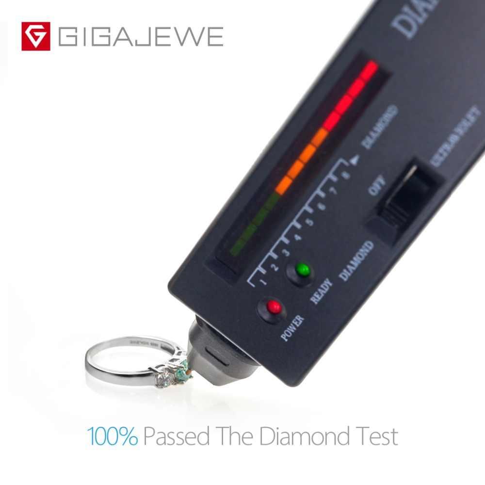 GIGAJEWE รวม 1.0ct EF/สีเขียว VVS1 รอบที่ยอดเยี่ยมเพชรผ่านการทดสอบ Moissanite 925 แหวนเงินเครื่องประดับของขวัญแฟน