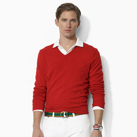 100 Cotton Sweater Man Knitted Autumn Warm Pullovers V Neck Hight Quality Solid Sweaters Male Jumper