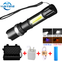 купить 8000LUMS USB Charging Flashlight COB+XPE LED Flash Light 3Modes Zoomable Torch Light for Fishing By 18650 Battery With USB Cable дешево