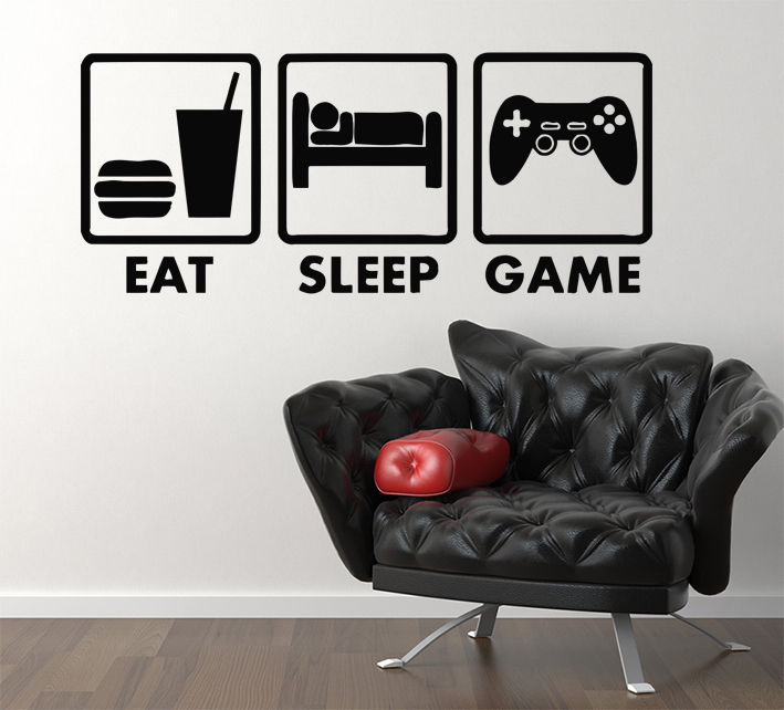 hwhd eat sleep game xbox ps wii fans children's bedroom decal wall