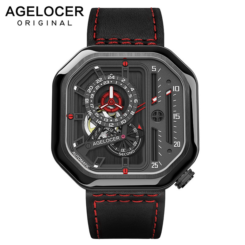 AGELOCER Switzerland Self-wind Mechanical Watch Men Automatic Big Square Black Leather Wrist Watches Reloj Hombre 2019 LuxuryAGELOCER Switzerland Self-wind Mechanical Watch Men Automatic Big Square Black Leather Wrist Watches Reloj Hombre 2019 Luxury