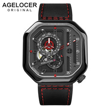 AGELOCER Switzerland Self-wind Mechanical Watch Men Automatic Big Square Black Leather Wrist Watches Reloj Hombre 2019 Luxury