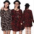 2016 new autumn winter long-sleeve big plus size women dress casual blouse shirt flower print floral woman tunic top 3XL~4XL~5XL