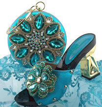Italy design size 38 to 42 turquoise blue shoe and bag matching set african  aso ebi rhinestones shoes and bag SB8274-3 9aa66202f225