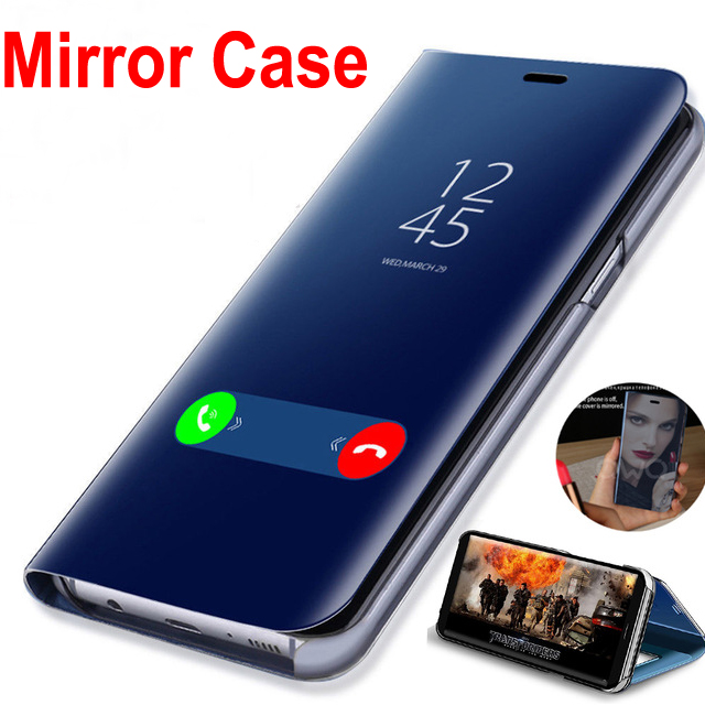 50pcs DHL Smart Mirror Flip Leather Case For Samsung Galaxy S8 S9 Plus S7 S6 Edge