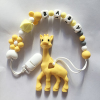2017 New Baby Silicone Teething Pacifier Clips Rainbow Giraffe Baby Toy DIY Bead Pacifier Holder Silicone