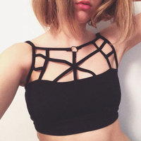 Summer Style Sleeveless Cross Casual Women Tank Top Sexy Hollow Out Black Bustier Crop Tops Fitness