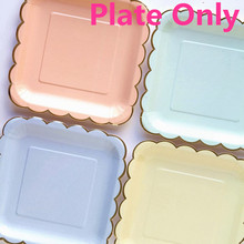 8pcs Candy Color Dinner Paper Plates Party Supply Foil Scalloped Pastel Plates with Gold Foil Party Supplies Tableware CP060