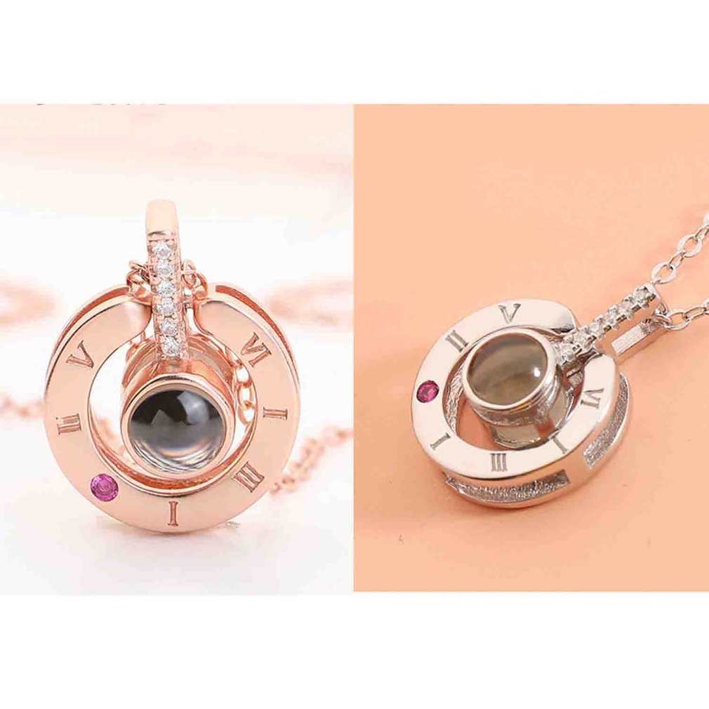 100 Languages I Love You Rose Gold Silver Shaking Sounds with Projection Clavicle Romantic Memory Wedding Necklace Dropshipping in Pendant Necklaces from Jewelry Accessories