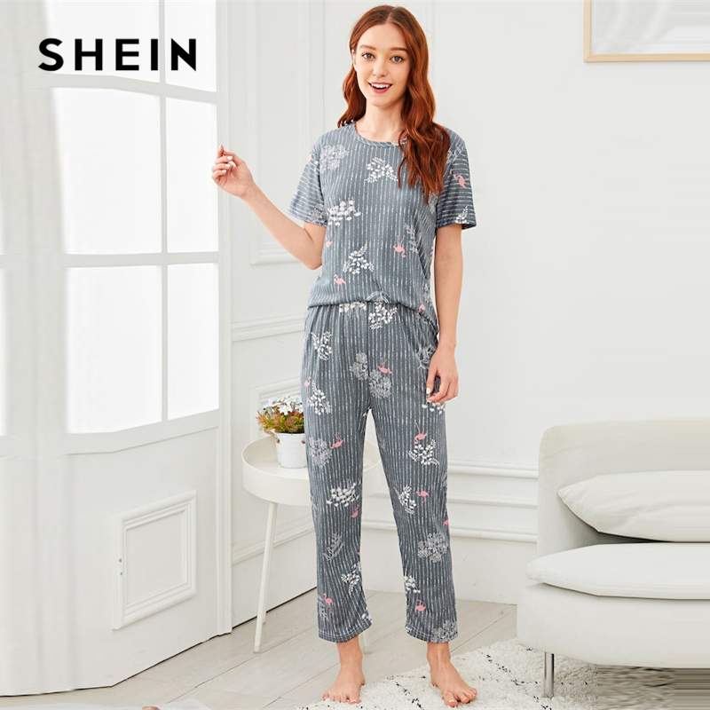 SHEIN Flamingo Leaf Print Striped Short Sleeve   Pajama     Set   Women Spring Nightwear Tops With Long Pants Autumn Winter Pjs Women