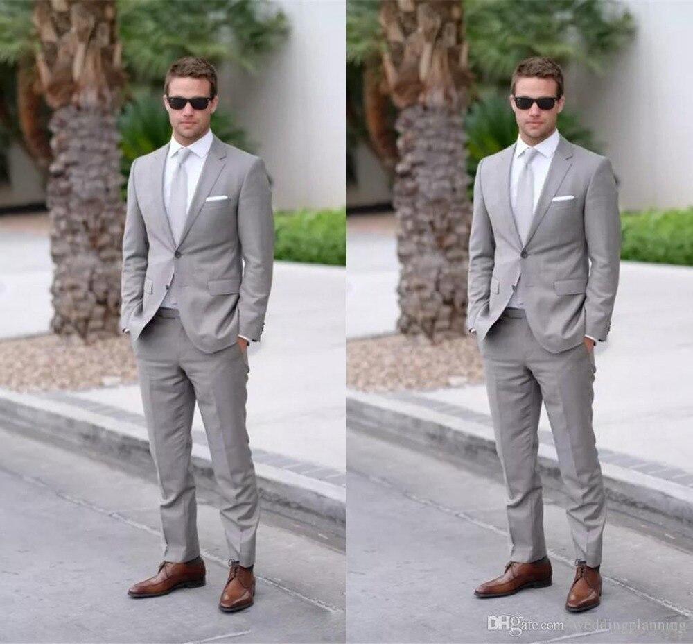 Latest Coat Pant Designs Light Grey Men Suit Men's Classic