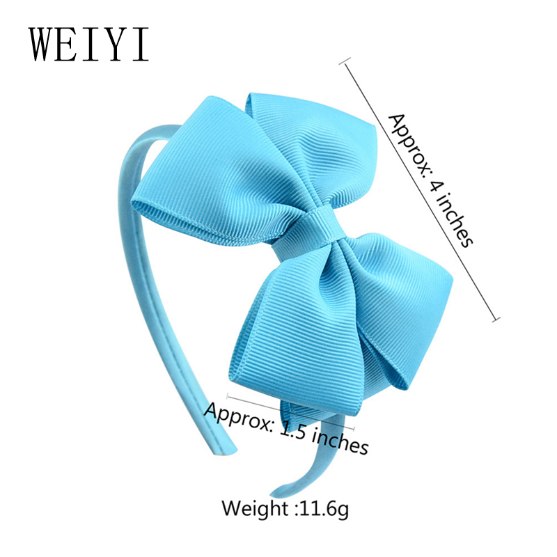 4 Inches Baby Girls Bow Headband Polyester Ribbon Fashion Style Beautiful Cute Solid Color Headdress Children Bow Headband 674