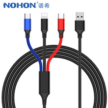 цена на NOHON 3 In 1 USB Charging Cable For iPhone X 7 8 Plus XS MAX XR Micro USB Type C Android Phone For Samsung Xiaomi Fast Charging