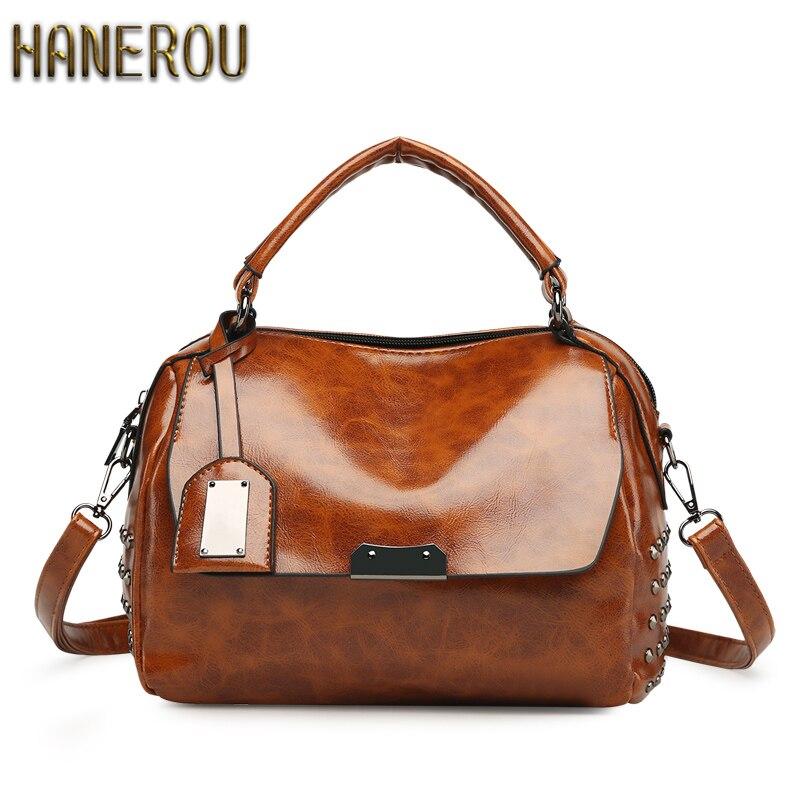 Famous Brand Women Bag PU Leather Tote Handbags New Vintage Shoulder Bags Woman Crossbody Bag 2018 Frauen Tasche Luxus Marke
