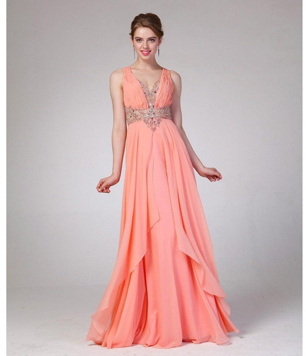 Nueva Prom vestidos Sexy Coral imperio de residuos embellecida Sheer ...