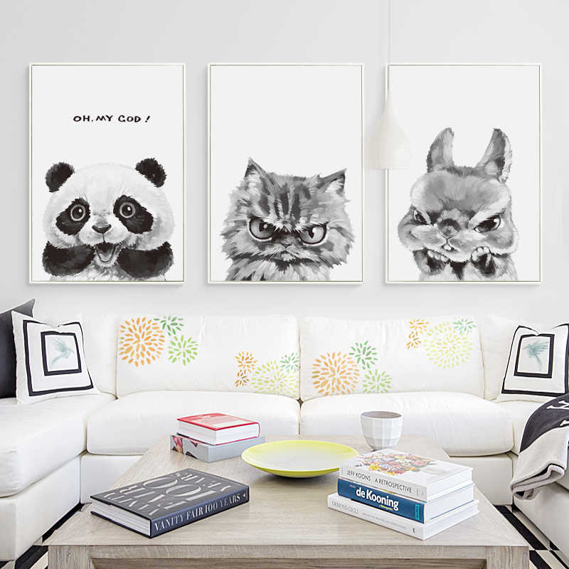 07G Expression Funny Cute Animal Panda Rabbit A4 A3 A2 Canvas Art Painting Print Poster Wall Children's Bedroom Home Decoration