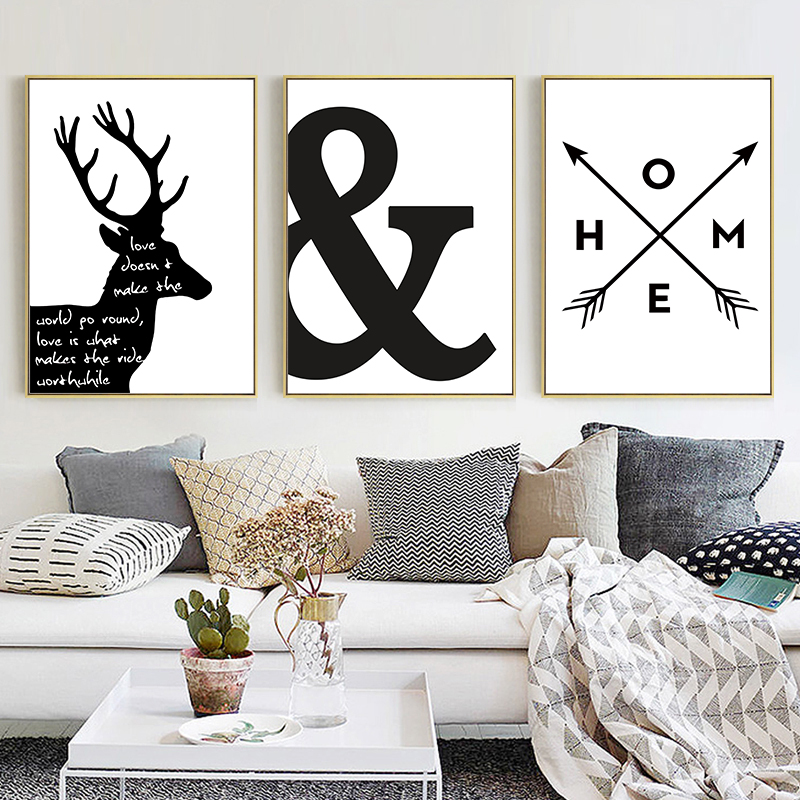 Black White Minimalist Abstract Elk Canvas Painting Nordic Scandinavian Wall Picture Poster Prints Living Room Home Decor CH048