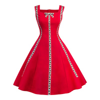 Red Vintage Dress Evening Party Women Gothic Patchwork Casual Elegant Retro Plus Size Dresses Embroidery 1950