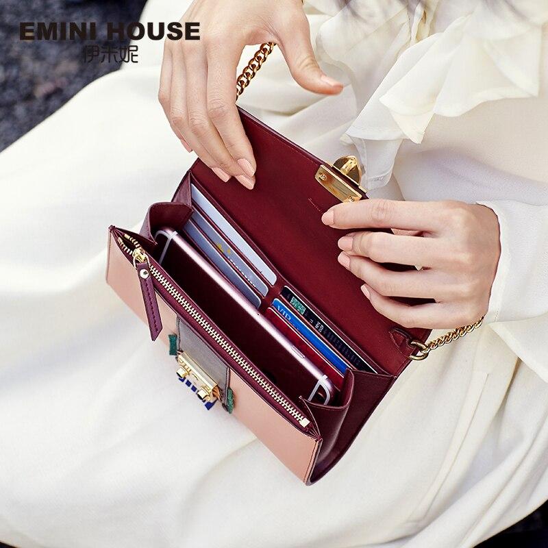 EMINI HOUSE Indian Style Falp Padlock Bag Split Leather Women Messager Bags Chain Bag Mini Shoulder