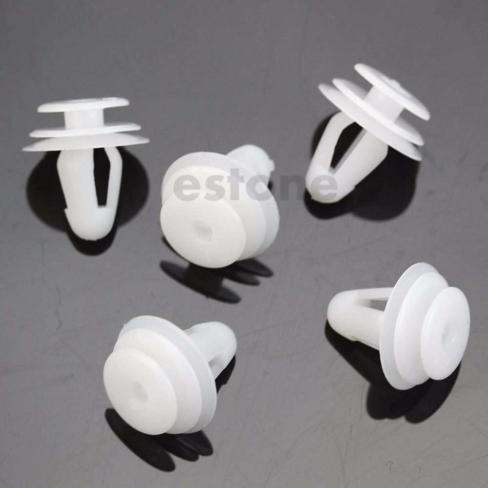50 Pcs Vehicle Car  8 mm Hole White Plastic Rivets Fastener Door Clips