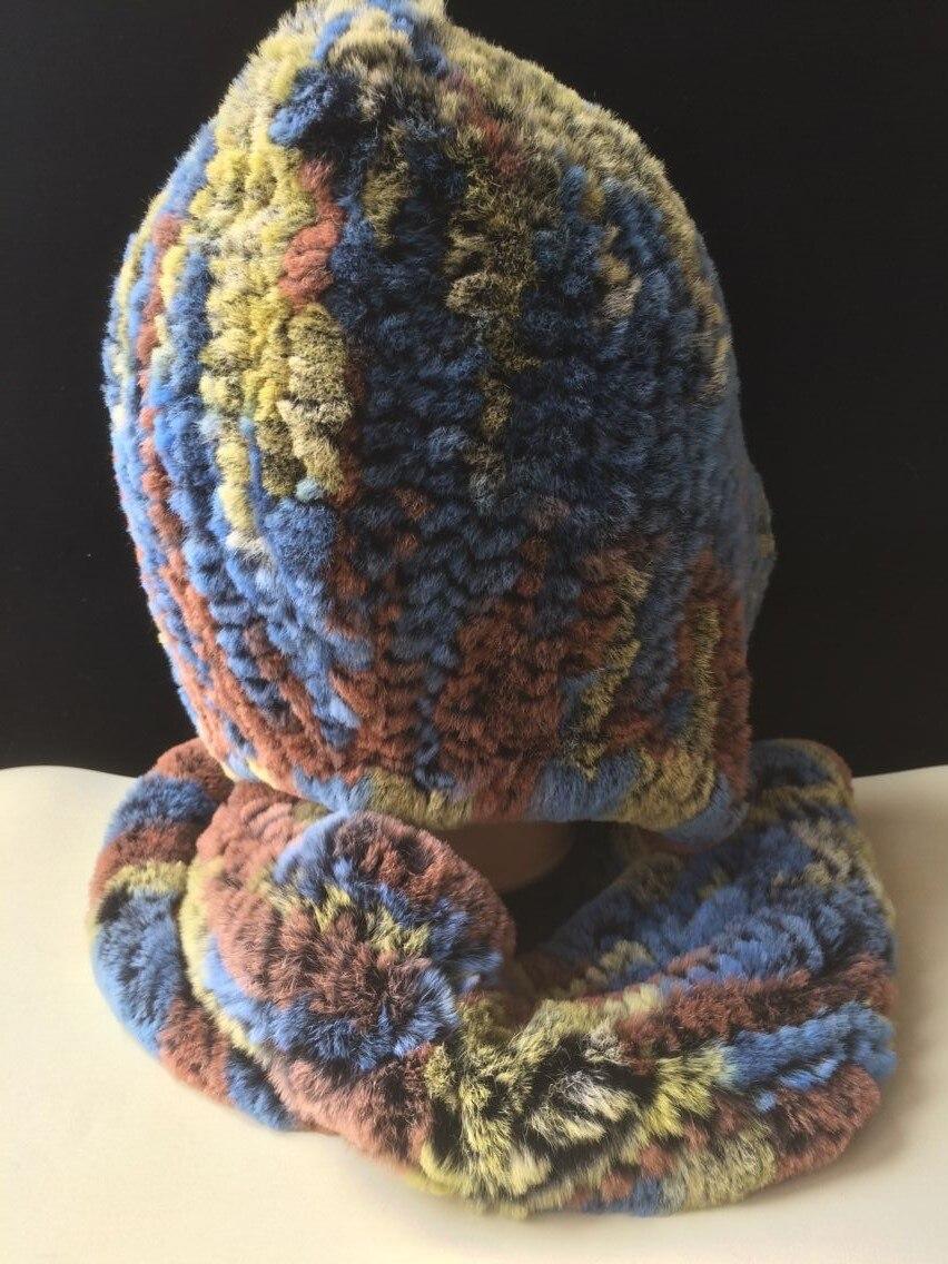 ICYMI hiver chapeau à capuche écharpe Rex fourrure de lapin tricoté casquette bonne qualité vraie fourrure écharpes et chapeaux Super chaud femmes chapeau d'hiver - 6