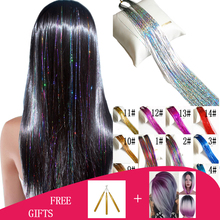 150Strands/pcs Holographic Sparkle Hair Tinsel Strands Glitter Extensions Highlight Party Bling 37inch Long 50pcs/lot