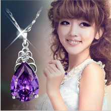 TJP Trendy Crystal Purple Water-Drop Pendant Necklace Female Party Accessories Charm 925 Silver For Women Jewelry Bijou