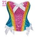 Burlesque Color del arco iris lentejuelas Overbust Sexy Corset Bustier Corset mujeres encabeza la cintura que adelgaza gótico Espartilhos E Corpetes Feminino