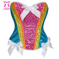 Burlesque Rainbow Color Sequined Overbust Sexy Corset Women Bustier Tops Waist Slimming Gothic Espartilhos E Corpetes Feminino