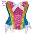 Burlesque Rainbow Color Sequined Overbust Sexy Corset Women Bustier Tops Waist Slimming Gothic Espartilhos E Corpetes Feminino
