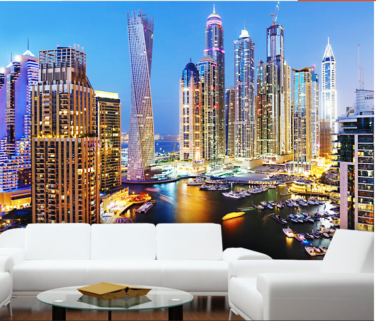 Online Shop Custom 3d Mural Dubai Night Living Room Wallpaper 3D City Landscape Color Personalized Large