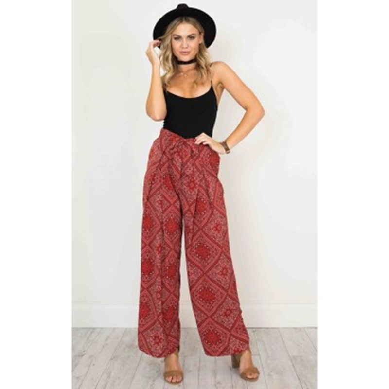 Casual Women Wide Leg Pants Printing Loose High Waist Female Drawstring Capri s Long Pants