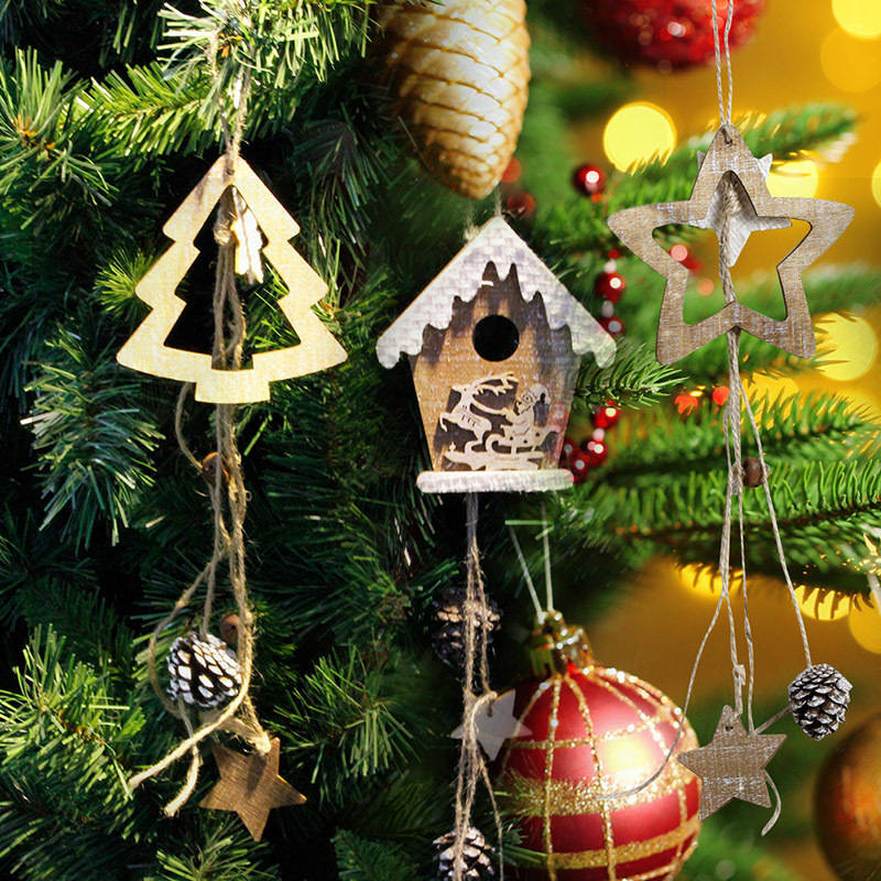 2018 New Wooden Christmas House Cabin Hanging Decor