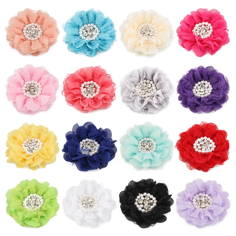 120pcs lot 16colors 9cm Shabby Chiffon Petals Poppy Flower Rhinestones Pearl for Kids Girls Hair Accessories