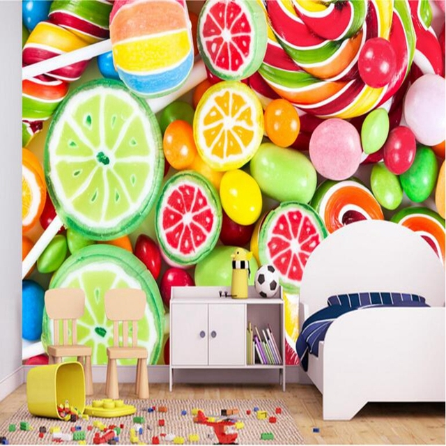 YOUMAN 3D Smile Wallpaper For Kids Room Colorful Lollipop Candy Bedrooms Wall Mural New Photo