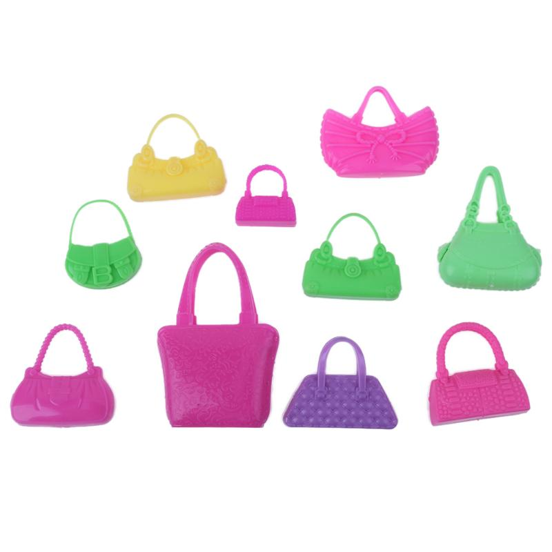 10pcs/set Plastic Miniature Toy Bag Colorful Fashion for Barbie Doll Girls Play House Toy Accessories High Quality
