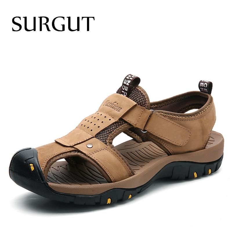 SURGUT Summer New Sandals Men Leather Classic Roman Sandals 2019 Slipper Outdoor Sneaker Beach Men Water Trekking Casual Sandals