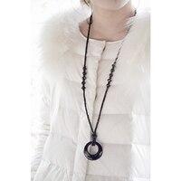 Simple Choker Necklaces Pendant Women Jewelry Bijoux Femme Collier Glass Beads Neckalce Sautoir Long Necklaces Silver