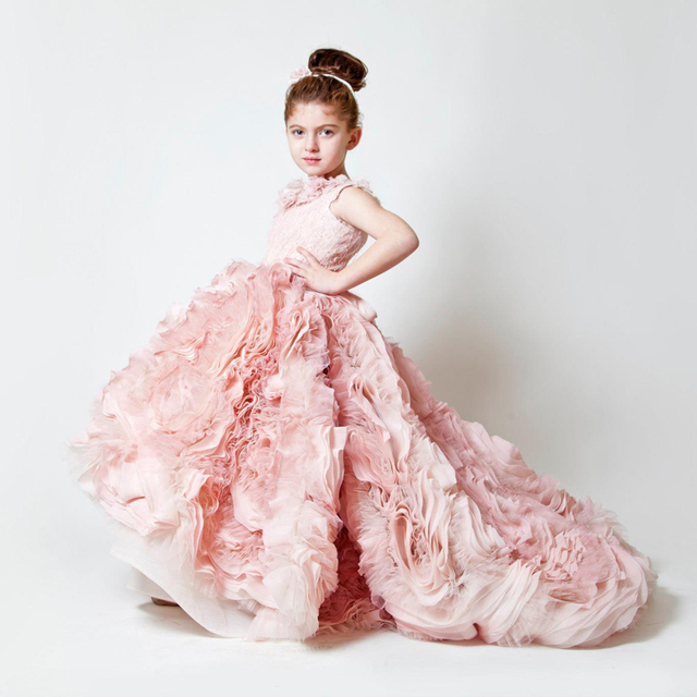 Ball Gown Beauty Pink Flower Girl Dresses Long Train Elegant Blue ...