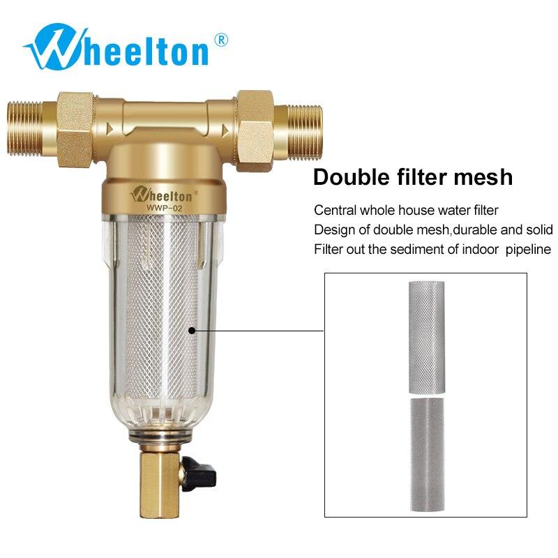 Wheelton Prefilter Water Filter Purifier System 59 Brass 40micron Stainless Steel Mesh Russian Warehouse Freeship