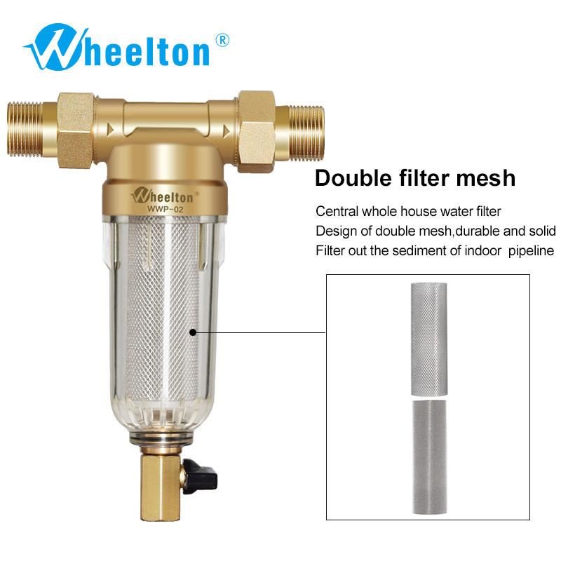 Wheelton Prefilter Whole House Water Filter Purifier System 59 Brass 40micron Stainless Steel Mesh Russian Warehouse